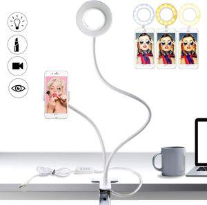 Led Selfie Licht mit Handy Halter, 3 Leuchtmodi und 10 Helligkeiten Stufen LED Ringlicht für Live Stream, (Weiß)