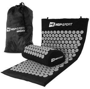 Hop-Sport Akupressur-Set aus Akupressurmatte & Akupressurkissen zur Entspannung und Selbstmassage mit Tasche - Grau