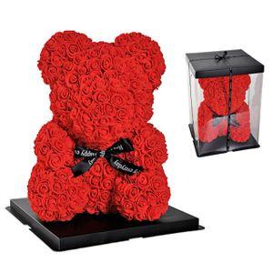 Rosenbär Kunst Rosenblüten Dekorationsgeschenk Teddy Rosenbär für Geburtstags - rot