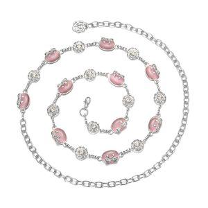 Damen Wunderschöne Strass Perlen Körperkette Bauchkette Taillenkette Kettengürtel Dekoratives Kleidzusätze Ketten Rosa