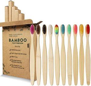 Bambus zahnbürsten, [10 Stück]zahnbürste bambus BPA Frei,zahnbürste holz,Umweltfreundliche,Unabhängige Verpackung,10 Farben,Biologisch Abbaubare