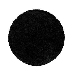 Teppium Hochflor Teppich, Wohnzimmerteppich, Rund Shaggy, Soft Weich Rund, Farbe:SCHWARZ,200 cm x 200 cm Rund