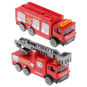 2er-Set Feuerwehrauto Feuerwehrleiterwagen, aus Kunstoff und Metall, Kinder Spielzeug