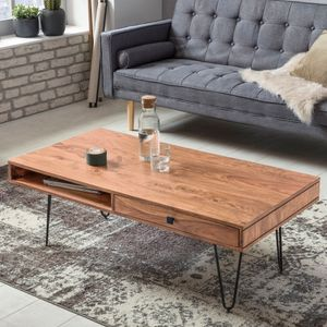 WOHNLING Couchtisch BAGLI Massiv-Holz Akazie 120 cm breit Wohnzimmer-Tisch Design Metallbeine Landhaus-Stil Beistelltisch