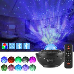 ROSNEK Musik LED Projektor Sternenhimmel Lampe mit Wasserwellen-Welleneffekt Lautsprecher