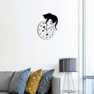 Vintage Schwarz Katze und Fisch Uhr Wanduhr Küchenuhr Ornament für Haus Büro Als Bild zeigen