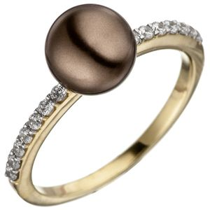 JOBO Damen Ring 52mm 333 Gold Gelbgold bicolor mit dunkler Perle und Zirkonia Perlenring