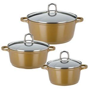 GSW Kochtopf-Set Gourmet Premium Color 6 tlg. gold , Aluminium, Edelstahl, Glas, Kochtopf mit Glasdeckel ø ca. 16 x H 8,6cm / ø ca. 20 x H 9,0cm / ø ca. 24 x H 10,7cm