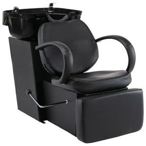 Friseurstuhl Friseursessel Friseureinrichtung mit Waschbecken Schwarz Kunstleder