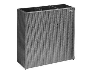 Gartenfreude Raumteiler Pflanzkübel Polyrattan 76x26x73cm, grau, 3x Kunststoff-Einsätze; 4000-1070-056