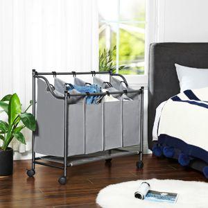 SONGMICS Wäschekorb mit 4 Fächern 140 L Eisengestell 4 ×35 L Wäschewagen Wäschebehälter auf Rollen Wäschesortierer Grau LSF005