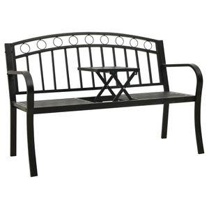 vidaXL Gartenbank mit 1 Tisch 125 cm Stahl Schwarz