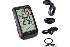Sigma Sport ROX 4.0 HR Set GPS-Fahrradcomputer mit Herzfrequenzsensor Black