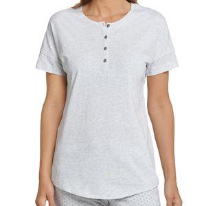 Schiesser Mix & Relax Schlafanzug Shirt kurzarm Locker geschnitten mit Knopfleiste, Angenehm auf der Haut, Schlafanzüge zum selber mixen