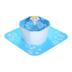 DECDEAL Trinkbrunnen Little Flower für Tiere weiß-blau 1,6 Liter