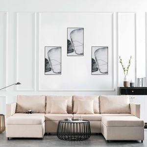 4-Sitzer Ausziehbares Schlafsofa Stoff Creme Wohnlandschaft-Sofa Relaxsofa für Wohnzimmer Schlafzimmer Esszimmer