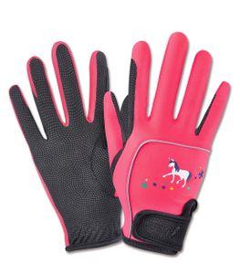 Reithandschuhe Metropolitan für Kinder Unicorn mit Einhornmotiv , pink ***, Größe:5