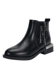 Abtel Damen Stiefeletten mit hohen Absätzen und hohen Absätzen, runde Zehen, kurze Stiefel, Freizeitschuhe,Farbe:Schwarzes dünnes Vlies,Größe:38