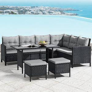 Polyrattan Lounge Manacor | Gartenmöbel Set mit Sofa, Tisch & 2 Hockern | schwarz mit grauen Bezügen | Rattan Sitzgruppe | Juskys