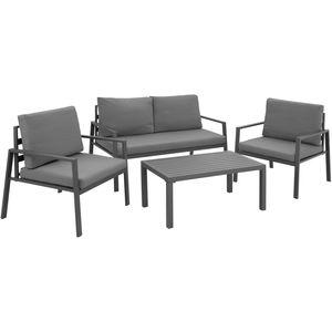 tectake Sitzgruppe Göteborg mit Tisch, Variante 2 - grau