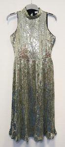 Warehouse Damen Abendkleid Faltenrock Pailletten Kleid Gr. 36 EU Gold