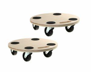 2 Stück Transportroller Blumenroller Rollbrett Fassroller Möbelroller 200kg Rund Plattformwagen