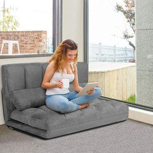 COSTWAY Schlafsofa mit 2 Kissen, Sofabett mit 6 stufig Verstellbarer Rücklehne, Lazy Sofa klappbar, Bodensofa für Schlafzimmer, Wohnzimmer und Balkon Grau