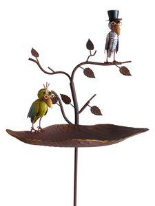 Vogeltränke Vögel mit Brille Gartenstab Gartenstecker Gartendekoration Garten