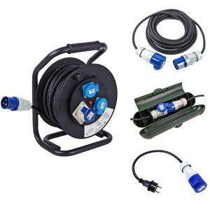 CEE Camping Set Kabeltrommel 25M Kabel 10M Sicherheitsbox Adapter für Wohnwagen