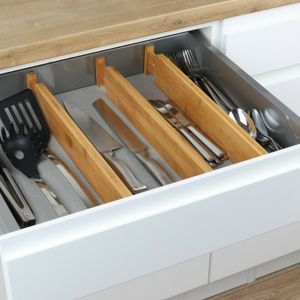 Besteckkasten Schubladeneinsatz Besteckeinsatz Holz Bambus 4-teilig verstellbar
