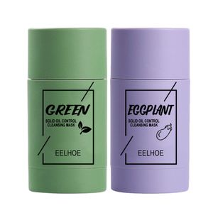 2 Stück Green Tea Purifying Clay Stick Mask Face Mask Stick Deep Cleansing Oil Control Anti-Acne Fine Solid Mask Aubergine Blackhead Remover Face Mask Pores Shrink