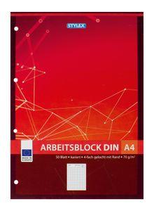 5x Arbeitsblock / Schreibblock / kariert / DIN A4 / gelocht
