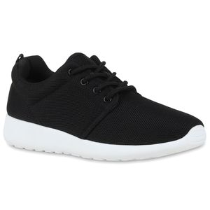 Mytrendshoe Damen Sportschuhe Trendfarben Runners Sneakers Laufschuhe 77409, Farbe: Schwarz, Größe: 41