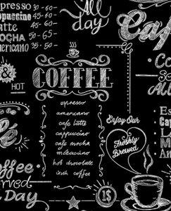 Superfresco Easy - Kaffee-Café-Küche - Schwarz/Weiß - Vliestapete - 10m x 52cm