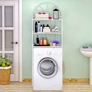 Waschmaschinenregal  Badezimmerregal Allzweck Regal Toilettenregal 3 Ablagen 65x34x177cm Weiß