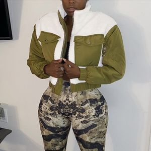 Frauen Mantel Tasche Turn-Down Kragen Faux Furs Top Short Loose Coat Größe:L,Farbe:Türkis