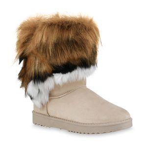 Mytrendshoe Damen Schlupfstiefel Warm Gefütterte Stiefel Kunstfell Schuhe 836021, Farbe: Creme Schwarz Weiß, Größe: 38