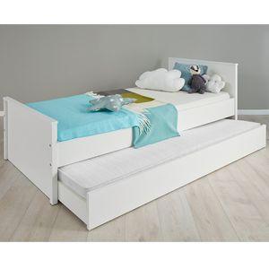 Jugendbett Kinderbett Gästebett Bett mit Bettkasten Ole Weiß Melamin 209 x 97 cm