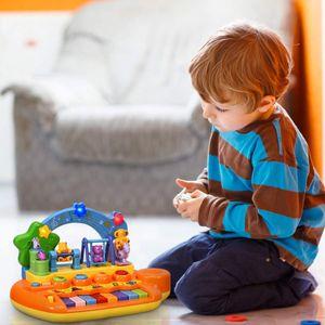 NightyNine Kinder Musikspielzeug, Lernspielzeug mit Musik, Baby Keyboard, 5 Instrumente, Glocke, mit Lichtern&8 Liedern, Elektronisches Spielzeug, für Baby ab 10 Monaten