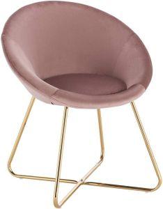 WOLTU Esszimmerstuhl Küchenstuhl Polsterstuhl Wohnzimmerstuhl aus Samt & Goldene Metallbeine,  BH217rs-1 Rosa