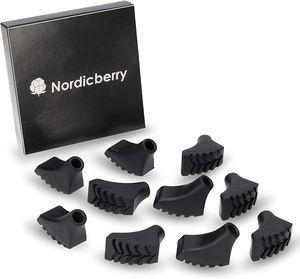 10 Nordic Walking Pads für Asphalt, Stein oder Gelände von Nordicberry – 5 Paar Gummipuffer passend für alle gängigen Nordic Walking-Stöcke