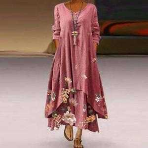 Frauen Casual Blumendruck Kleid O-Ausschnitt Langarm Unregelmäßige Lose Langes Kleid Größe:XL,Farbe:Rosa