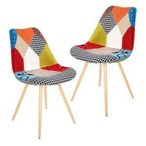 2er Set Esszimmerstühle Wohnzimmerstuhl Küchenstühle Büro Gepolsterter Sitz Patchwork Stühle