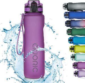 ADORIC Sport Trinkflasche, [BPA Frei Tritan] 1L Auslaufsicher Kunststoff Wasserflasche Sport, Sportflasche Fahrrad für Camping Freien, Outdoor, Yoga, Gym,Lila