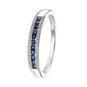 Ring, 750 Weißgold, Saphir, Diamant 0,06 kt