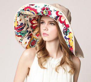Faltbare Brimmed Sonnenhut für Frauen UV-Schutz großer Krempe Hüte Strand Sonne -(Weiß,)