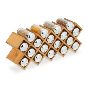 relaxdays Gewürzregal Bambus mit 18 Gläsern