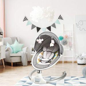 COSTWAY Babywippe Baby Schaukelstuhl mit 5 Schwingungsamplituden Musik Timing- und Bluetoothfunktion Grau