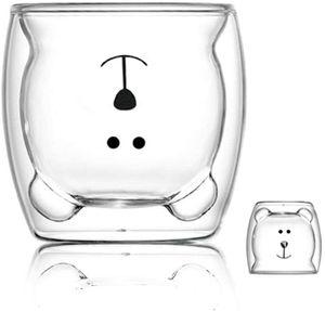 (Glücklicher Bär) KaffeeTeegläser Trinkgläser Kaffeeglas Doppelwandige IsoliergläserEspressotasse Bär Katze Becher