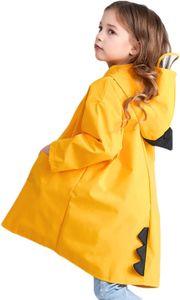 Kinder Regenmantel mit Kapuze Mädchen Regenjacke Durchsichtige Schild Süß Cartoon Junge Regenponcho Wasserdicht Atmungsaktiv Regencape Regenbekleidung Dinosaurier für Sommerregen Gelb L